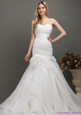New Style Sweetheart Ruching Wedding Dress with Brush Train for 2015