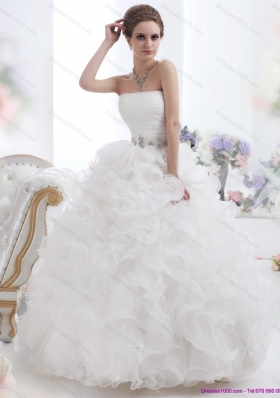 New Style White Strapless Ruffles and Ruching Wedding Gown for 2015