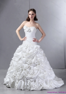 New Style White Sweetheart Wedding Dresses with Hand Made flowers and Brush Train