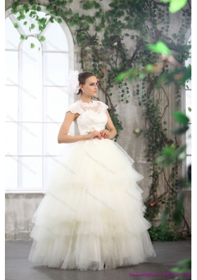 New Style White Wedding Dresses with Ruffled Layers and Lace