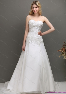 Perfect 2015 Sweetheart A Line Wedding Dress with Appliques and Beading