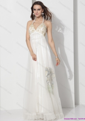 Perfect Halter Empire Wedding Dress with Appliques for 2015