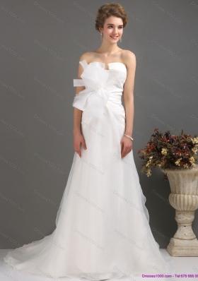 Ruffles Strapless Bownot White Wedding Dresses with Brush Train