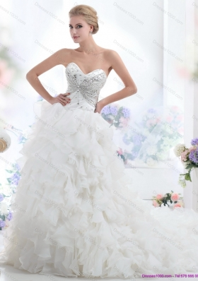 Sweetheart 2015 White Wedding Dresses with Rhinestones and Ruffles