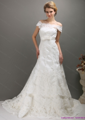 2015 Classical Off the Shoulder Wedding Dress with Bowknot
