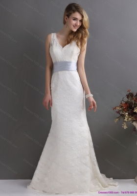 2015 Classical V Neck Lace and Sash Wedding Dress