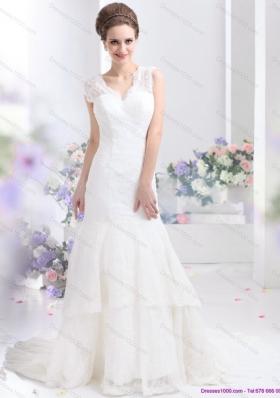 2015 Gorgeous Lace White Wedding Dresses with Brush Train