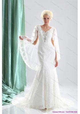 2015 Luxurious V Neck Wedding Dress with Lace and Appliques