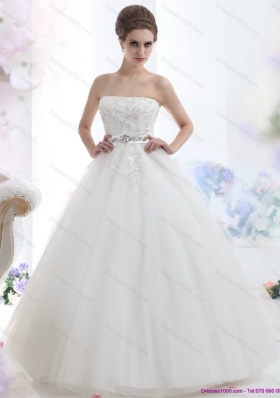 2015 New Style Strapless Beading Wedding Dress with Brush Train