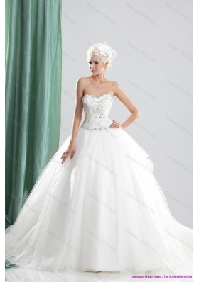 2015 New Style Sweetheart Beading Wedding Dress with Brush Train
