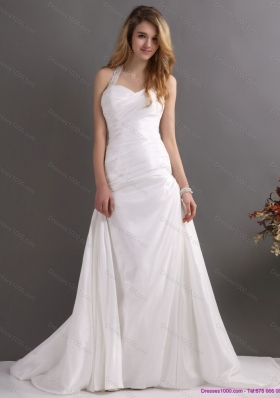 2015 Top Selling Halter Top Wedding Dress with Beading and Ruching