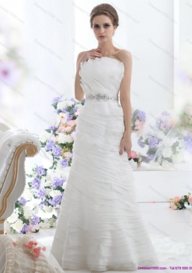 2015 Top Selling Strapless Wedding Dress with Beading and Ruching