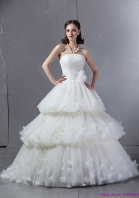 2015 Top Selling Strapless Wedding Dress with Ruffles and Ruching