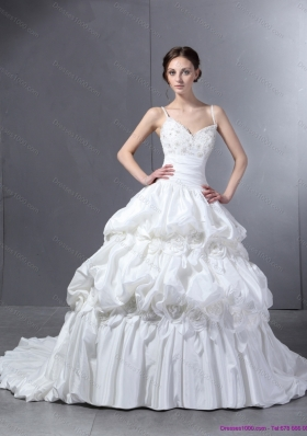 2015 Top Selling Sweetheart Wedding Dress with Lace and  Pick Ups