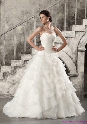 2015 Top Selling Wedding Dress with Beading and Ruffled Layers