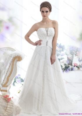 2015 Unique Sequines White Wedding Dresses with Chapel Train