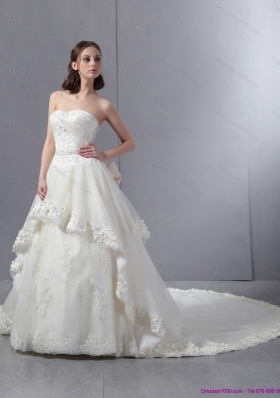 Laced Beaded White Wedding Dresses with Chapel Train