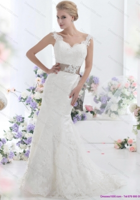 Perfect White Backless Wedding Dresses with Sash and Lace