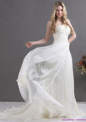 Popular White Strapless Ruching Bridal Gowns with Brush Train