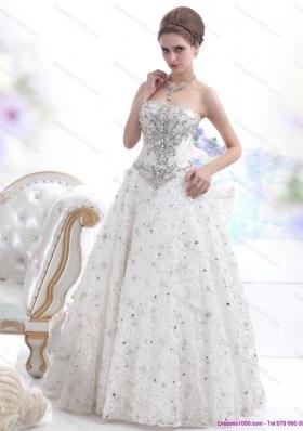 Pretty Strapless Bownot White Wedding Dresses with Rhinestones