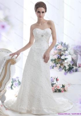 Pretty White Sweetheart Beading Wedding Dresses with  Brush Train