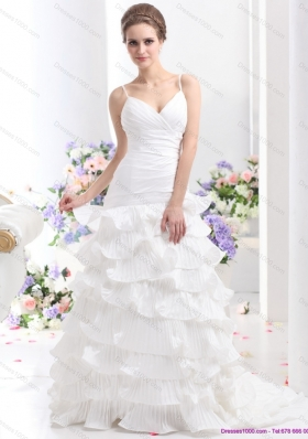 Top Selling Ruching White Wedding Dresses with Ruffled Layers and Brush Train
