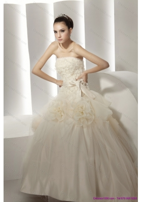 Top Selling Ruffled White Wedding Dresses with Rolling Flowers
