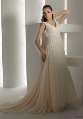Top Selling Ruffles and Beading White Wedding Dresses with Brush Train