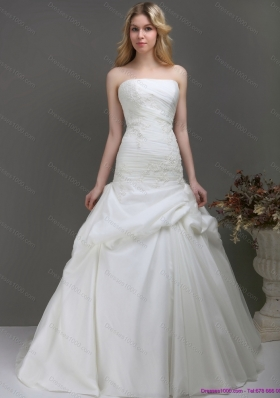 Top Selling Strapless Wedding Dress with Ruching and Lace for 2015