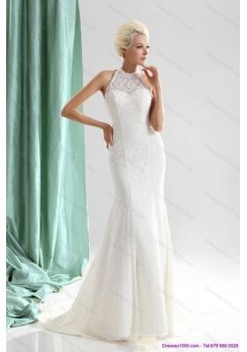 Unique White High Neck Lace Bridal Dresses with  Brush Train