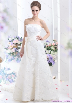 White Strapless Laced Wedding Dresses with Bownot and Brush Train