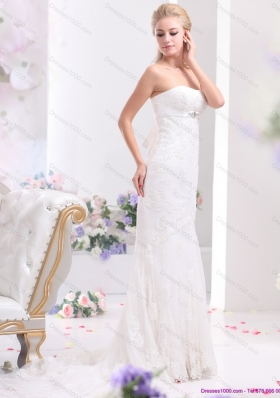 White Sweetheart Beading and Lace Wedding Dresses with  Brush Train