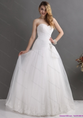 White Sweetheart Lace and Ruching Bridal Gowns with Brush Train