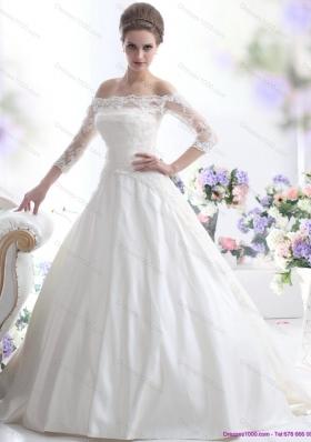 2015 Elegant Off the Shoulder Wedding Dress with 3/4 Length Sleeve