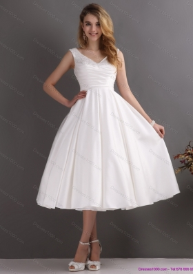 2015 Popular Beading and Ruching Wedding Dresses in White