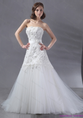2015 Popular White Strapless Wedding Dresses with Sequins and Brush Train
