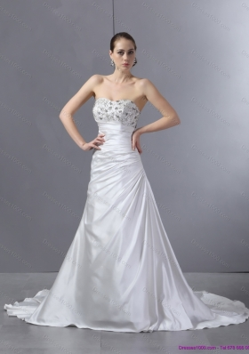 2015 White Pleated Sequined Wedding Dresses with Court Train