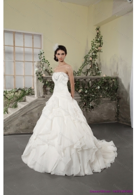 2015 White Strapless Ruffled Wedding Dresses with Chapel Train and Beading