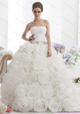 Popular 2015 White Strapless Wedding Dresses with Rolling Flowers and Chapel Train