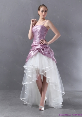Ruching 2015 High Low Beaded Wedding Gowns in White and Lilac