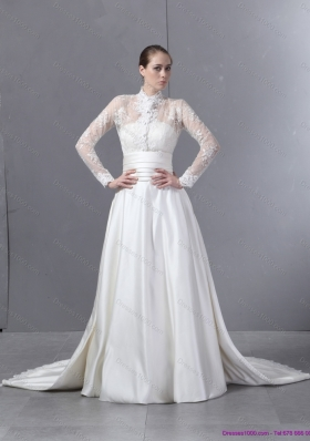 Ruching Strapless White Wedding Dresses with Brush Train for 2015