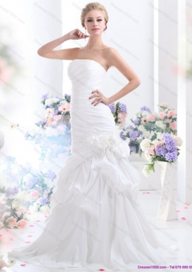 Ruffles Strapless White Bridal Gowns with Hand Made Flower for 2015
