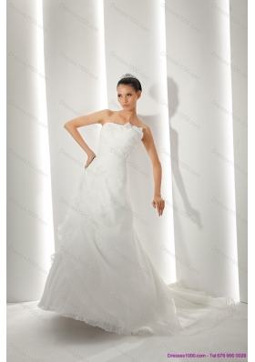 Unique Brush Train Ruching White Wedding Dresses with Appliques for 2015
