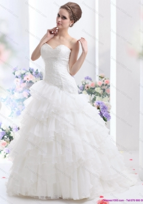 White 2015 Brush Train Wedding Dresses with Ruffled Layers and Sequins