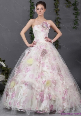 2015 Beautiful Multi Color Quinceanera Gowns with Hand Made Flowers
