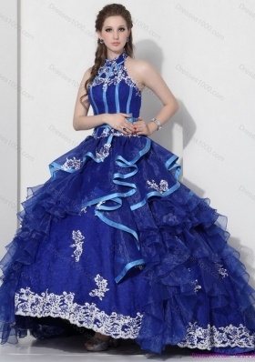 Halter Top Appliques Blue 2015 Quinceanera Dresses with Ruffles and Brush Train