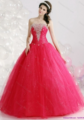 2015 Unique Sweetheart Red Sweet Sixteen Dresses with Rhinestones
