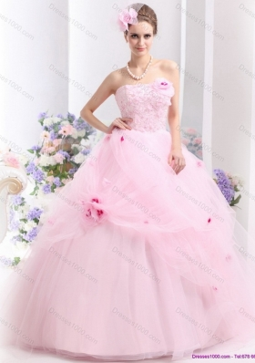 Fashionable Baby Pink Sweet Sixteen Dresses with Hand Made Flowers
