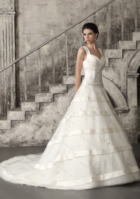 A-Line Beaded Brush Train Ruched Wedding Dresses in White