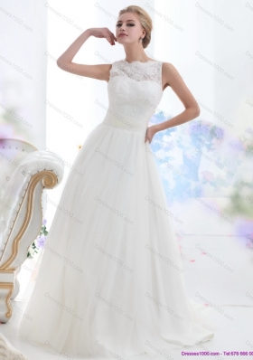 A-Line White High Neck Laced Wedding Dresses with Brush Train